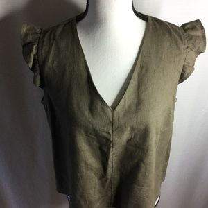 MONTEAU LA Cap Sleeve Hunter Green Blouse Size L